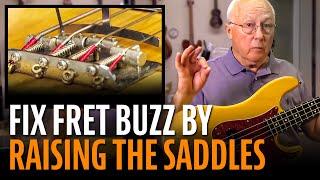 Watch the Trade Secrets Video, Fixing fret buzz: raising the saddles