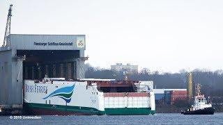 W.B. YEATS | awesome big ship launch for IRISH FERRIES at shipyard FSG Flensburg | 4K-Quality-Video
