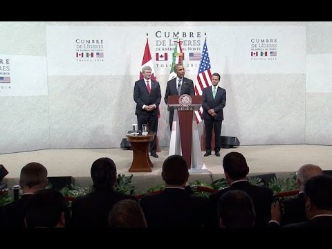 President Obama Delivers Remarks with President Peña Nieto and Prime Minister Harper