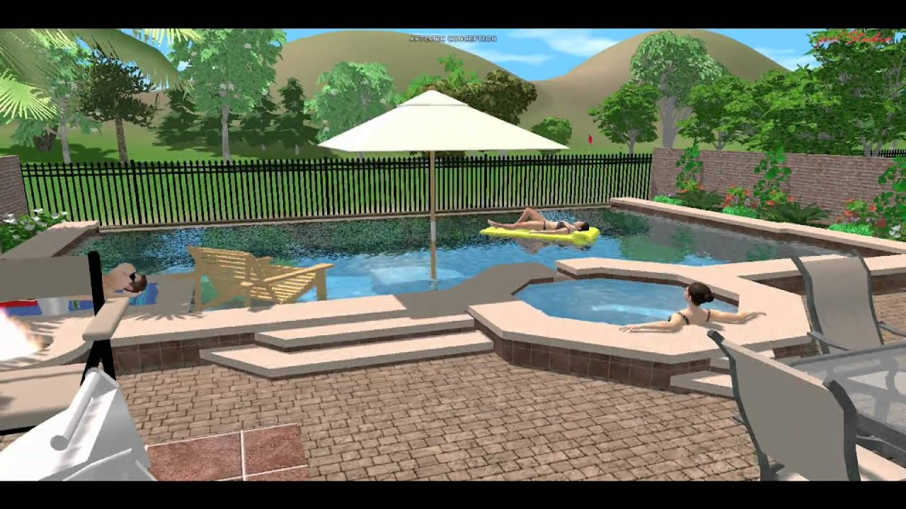 3d landscape and pool design las vegas youtube for Pool design 3d