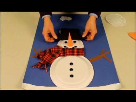 snowman made with paper plates youtube. Black Bedroom Furniture Sets. Home Design Ideas