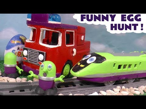 Funny Funlings Train and Fire Truck Fun Kinder Egg Hunt with Toy Vehicles For kids TT4U