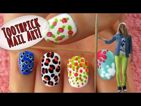 Toothpick Nail Art! 5 Nail Art Designs & Ideas Using Only a Toothpick!,