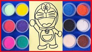 Đồ chơi trẻ em tô màu tranh cát mèo Đôraêmon thông minh, Doraemon Sand Painting Toys (chị Chim Xinh)