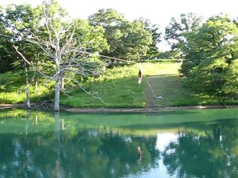 350 zip line over pond youtube