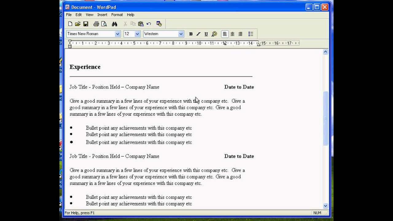 create a resume in wordpad