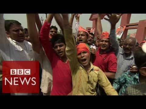 India election: On the ground at Modi rally - BBC News