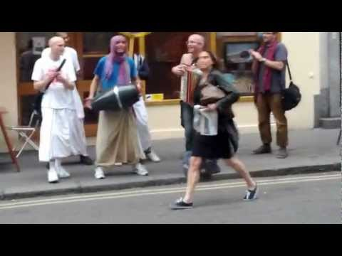 Funny Hindu people making music in the streets of London