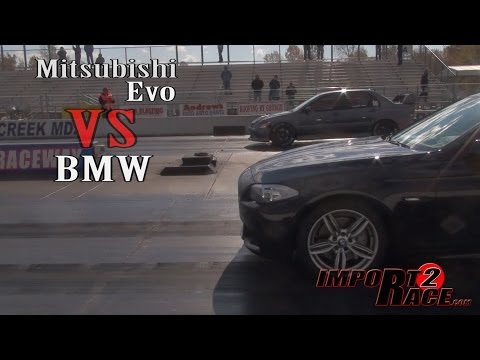 BMW vs Mitsubishi EVO drag race