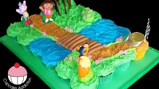 Dora Cupcake Cake! Make a Dora the Explorer Pullapart Cupcakes Cake - by Cupcake Addiction