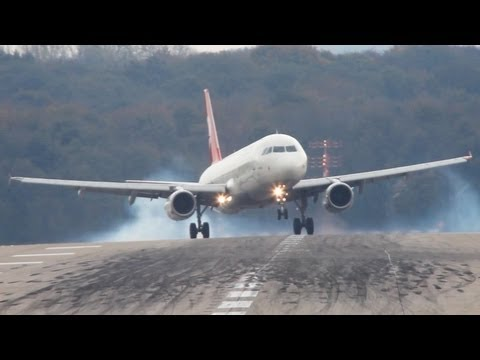Crosswind Landings at Dsseldorf. Boeing 777, A330, A320, B737, MD82 (HD)