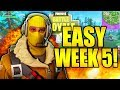 HOW TO DO ALL WEEK 5 CHALLENGES EASY IN FORTNITE PICKAXE DAMAGE BUSH GAS STATIONS TREASURE MAP