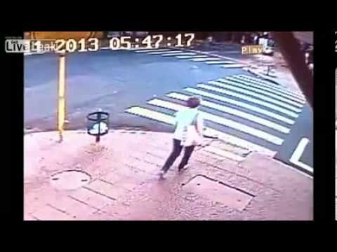 Taxi Slams Into Woman who Was Crossing a Crosswalk in the Street in Brazil (CCTV)