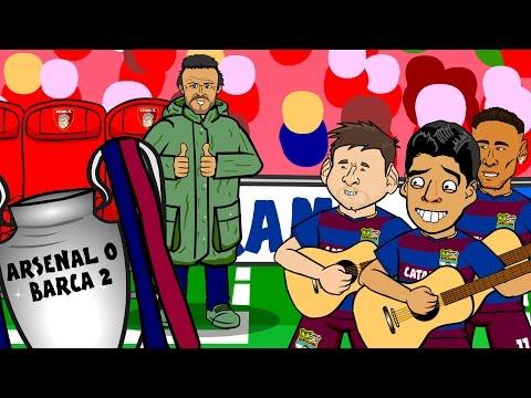 Arsenal vs Barcelona IN SIXTY SECONDS! 0-2 Song (UEFA Champions League Parody Cartoon 2016)