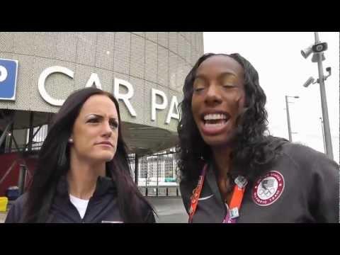 USA Track Stars Brigetta Barrett and Georganne Moline - invade london