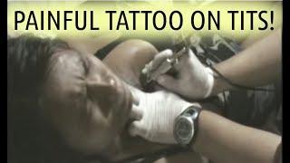 Painful Tattoo On Tits (1/2) * Breasts Boobs Filipina Bar