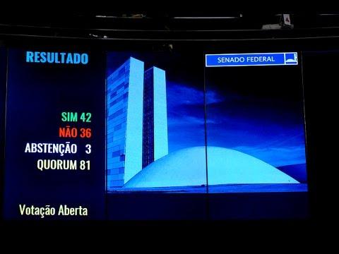 AO VIVO Senado vota a favor do impeachment . No total dos 81 senadores, 61 votaram a favor e 20 votaram  Sessão Extraordinária