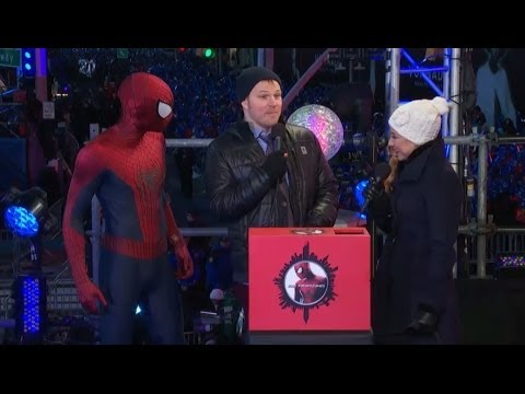 Spidey And Marc Webb At Times Square New Year's Eve
