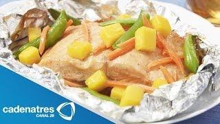 Receta de pescado al vapor con verduras