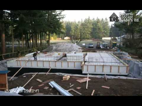 Icf house construction time lapse youtube for Icf basement cost