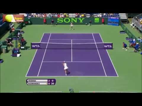 Vesnina vs Radwanska Miami 2014 Highlights
