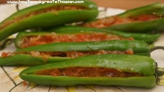 Ethiopian Food - Sinig recipe vegan long Peppers with Onion & Tomato