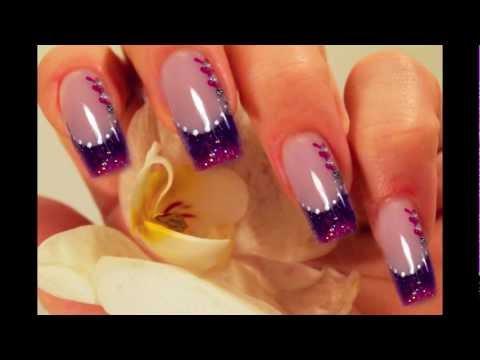 Step By Step Pink Lila Purple Nail Art Design Mit Acryl Pink