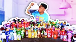 MIXING ALL MY 100 DRINKS TOGETHER AND DRINKING IT!