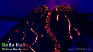 Vesuv Vulkanausbruch im Miniatur Wunderland Abschnitt Italien