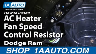 How To Install Repair Replace AC Heater Fan Speed Control