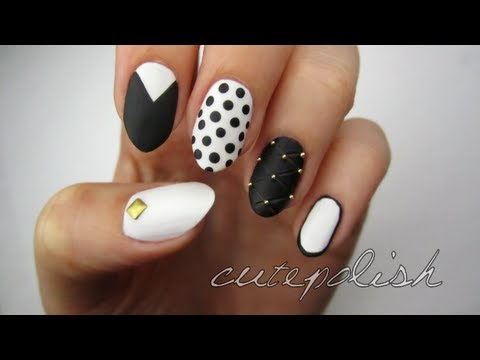 Mix & Match: Monochrome Nails, facebook.com/cutepolish | twitter: @cutepolish | instagram: cutepolish PRODUCTS USED: OPI Alpine Snow OPI Black Onyx Essie Matte About You Studs can be found...
