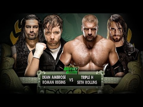 WWE Money in the Bank 2014 - Dean Ambrose & Roman Regins Vs Triple H & Seth Rollins Full Match HD