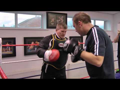 Ricky Hatton on the body belt with workshop attendees - Group one