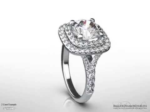 Square Halo & Round Diamond Centre Engagement Ring with Diamond Shoulders 'Flavia'