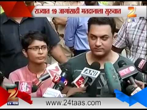 Amir Khan With Wife Kiran Rao For Voting