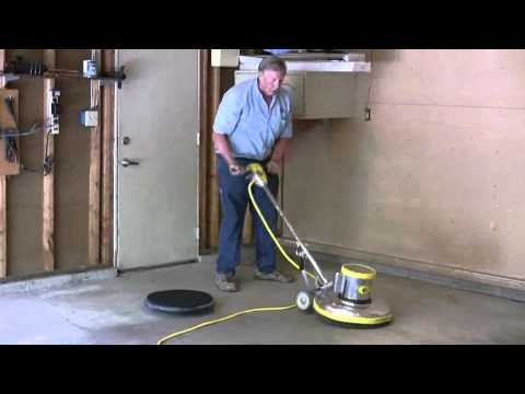 Painting a garage floor part 2 how to use a rotary for How to degrease concrete garage floor