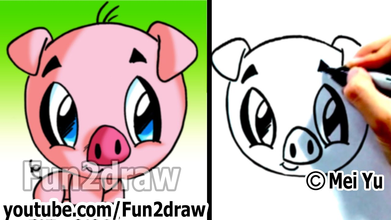 How To Draw A Cartoon Pig Under 2 Min Cute Animal