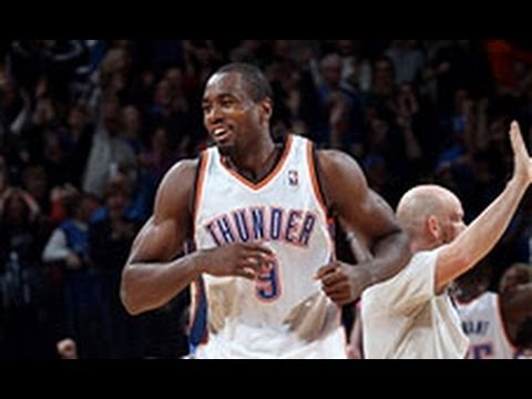 Serge Ibaka Blocks Joakim Noah Twice Leading to a Kevin Durant Three