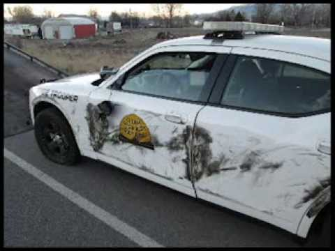Utah trooper sideswiped by semi-truck