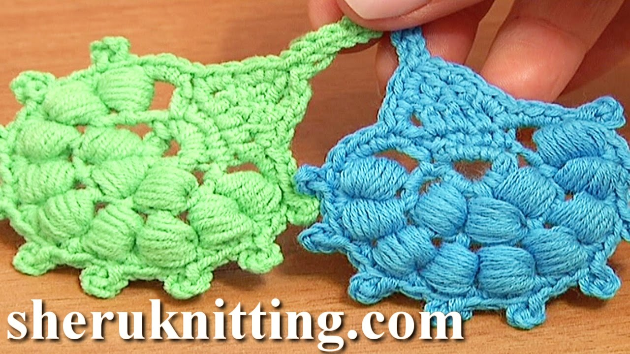 Crochet Puff Stitch Leaf Tutorial 29 Crochet Leaf Library - YouTube