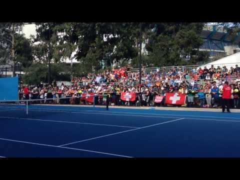 Federer practice at Australian Open 2014 with Edberg, Luthi (pt 1)