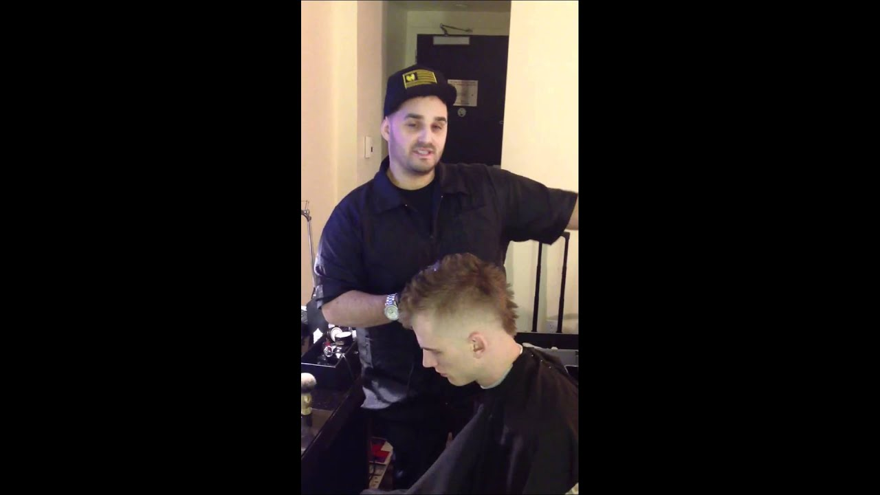 Machine Gun Kelly getting a Haircut by CeeHaz The Barber - YouTube