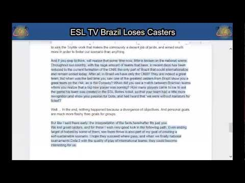 CBD OffTopick # 17: ESL TV Brazil Loses Casters (read through)
