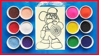 Tô màu tranh cát chuột anh hùng - Learn colors Sand Painting (Chim Xinh)