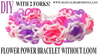 How To Make Flower Power Bracelet With Two Forks. Without