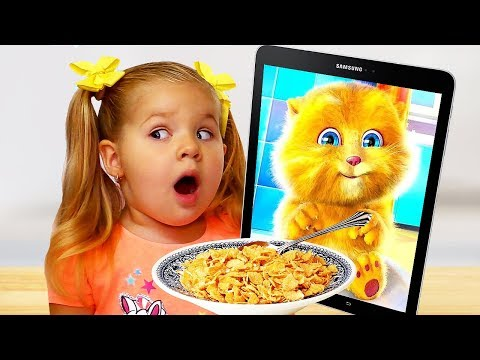 Diana and Funny Cat eats Breakfast and Plays