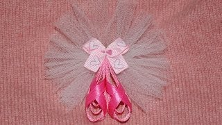 BALLET SLIPPERS With TULLE Dance Ribbon Sculpture Hair