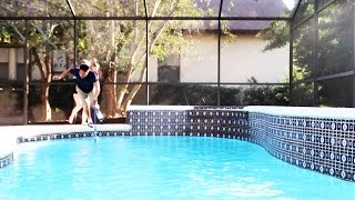 BABY PUSHED DAD INTO FREEZING COLD POOL!!!