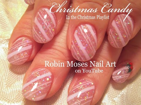 Pink Glitter Candy Cane Nail Art Pink And Purple Video