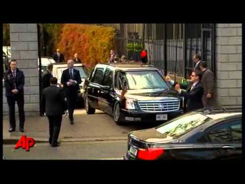 Raw Video: Obama's Limo Gets Stuck
